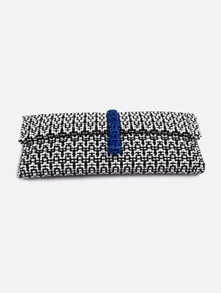 White-Black Recycled Plastic Weave Clutch