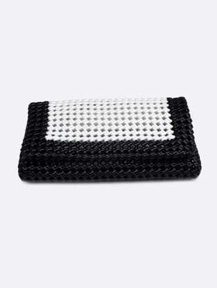 Black-White Recycled Plastic Weave Clutch