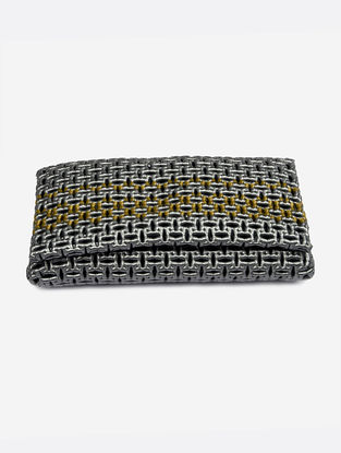 Silver-Golden Recycled Plastic Weave Clutch