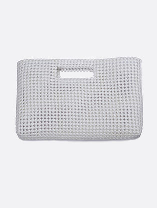 White Recycled Plastic Weave Hand bag