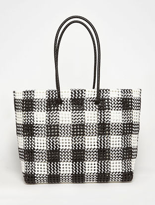 White - Black Recycled Plastic Weave Tote