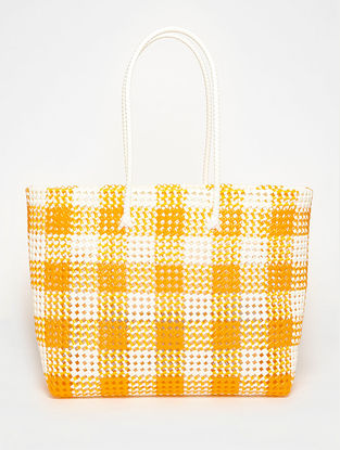 White - Orange Recycled Plastic Weave Tote