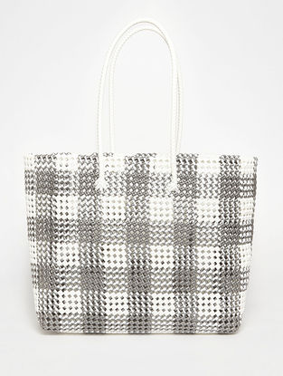 White - Grey Recycled Plastic Weave Tote