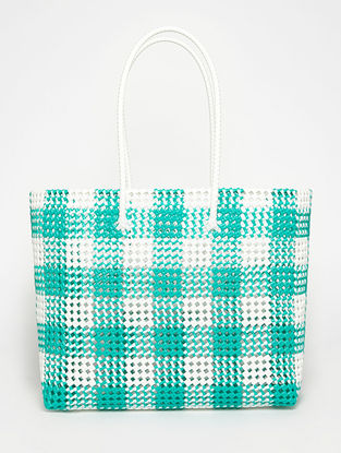 White - Green Recycled Plastic Weave Tote