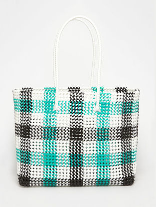 Black - Green Recycled Plastic Weave Tote