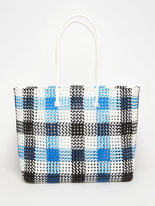 Black - Blue Recycled Plastic Weave Tote