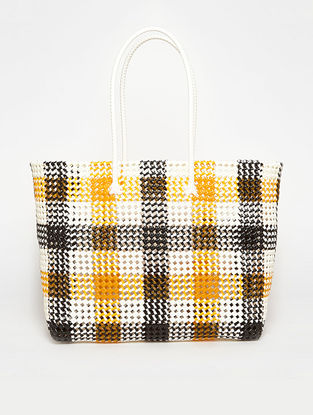 Black - Orange Recycled Plastic Weave Tote