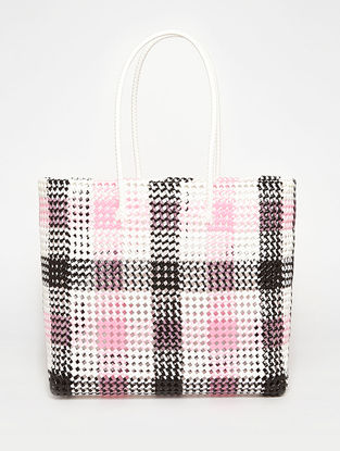 Black - Pink Recycled Plastic Weave Tote