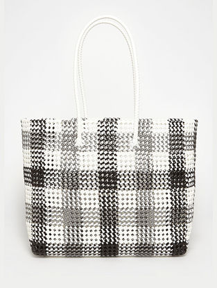 Black - Grey Recycled Plastic Weave Tote