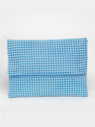 White - Blue Recycled Plastic Weave Clutch