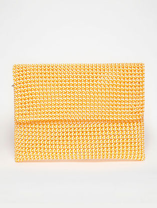 White - Orange Recycled Plastic Weave Clutch