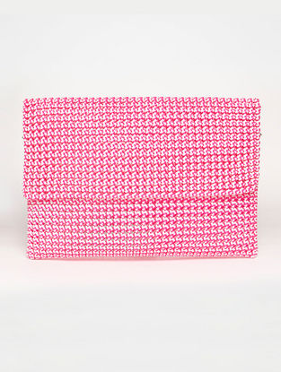 White - Pink Recycled Plastic Weave Clutch