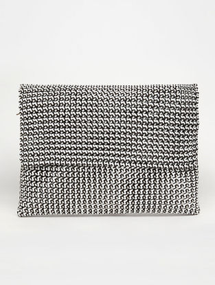 White - Grey Recycled Plastic Weave Clutch