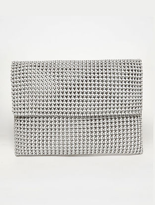 White - Black Recycled Plastic Weave Clutch