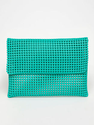 Green Recycled Plastic Weave Clutch