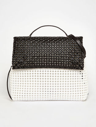 White - Black Recycled Plastic Weave Sling Bag
