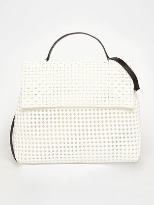White Recycled Plastic Weave Sling Bag