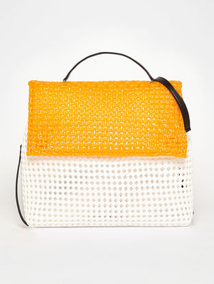 White - Orange Recycled Plastic Weave Sling Bag