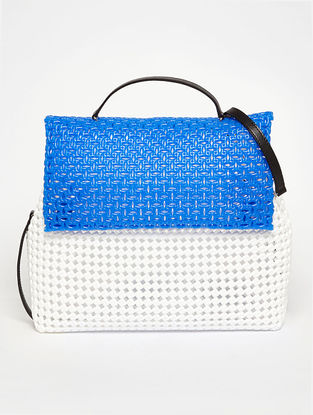 White - Blue Recycled Plastic Weave Sling Bag