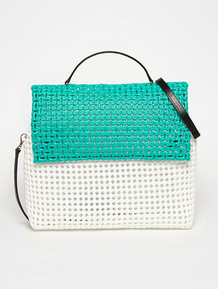 White - Green Recycled Plastic Weave Sling Bag