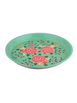 Blue-Pink Floral Hand-Painted Steel Platter