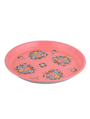 Pink-Yellow Floral Hand-Painted Steel Platter