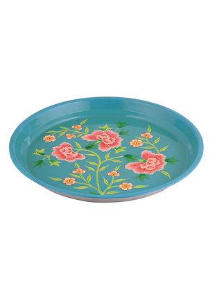 Blue-Pink Floral Hand-Painted Steel Platter