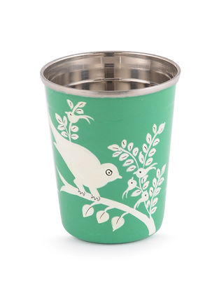 Green-White Bird Hand Painted Steel Glasses (Set of 2)- (Dia: 2.2in, H: 2.5in)