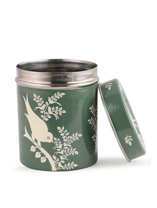 Green-White Hand Painted Steel Tea Box with Bird Design (Set of 3)