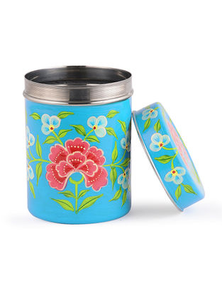 Blue-Pink Hand Painted Steel Tea Box with Bird Design (Set of 3)
