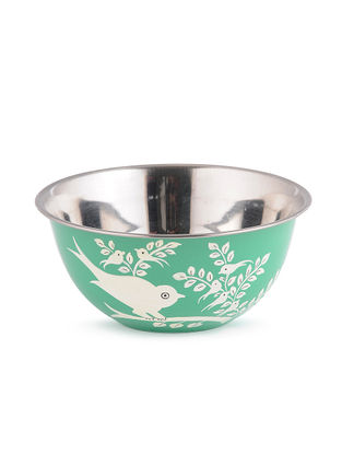 Green-White Bird-Floral Hand Painted Steel Bowls (Set of 2)- (Dia: 4.6in, H: 2.1in)