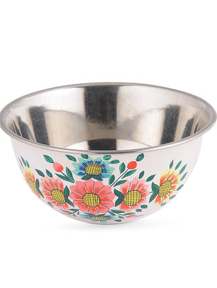 White-Multicolored Floral Hand Painted Steel Bowls (Set of 2)- (Dia: 4.6in, H: 2.2in)