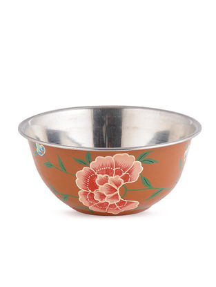 Rust Floral Hand Painted Steel Bowls (Set of 2)- (Dia: 4.6in, H: 2.1in)