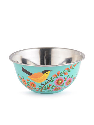 Turquoise Floral Hand Painted Steel Bowls (Set of 2)- (Dia: 4.6in, H: 2.2in)