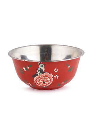Maroon Floral Hand Painted Steel Bowls (Set of 2)- (Dia: 4.6in, H: 2.2in)
