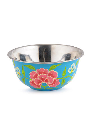 Blue-Pink Floral Hand Painted Steel Bowls (Set of 2)- (Dia: 4.6in, H: 2.1in)