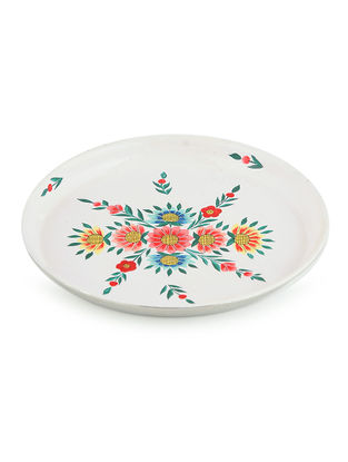 White-Multicolored Floral Hand Painted Steel Plate-Dia: 7in