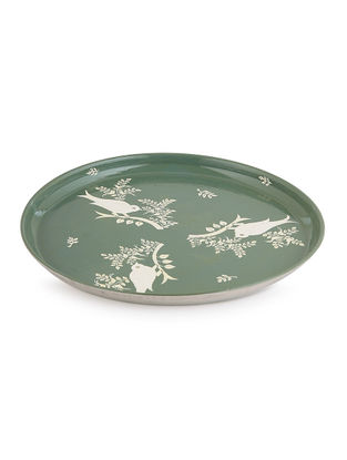 Green-White Floral Hand Painted Steel Plate- Dia: 11in