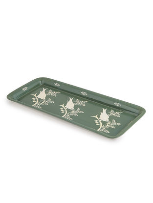 Green-White Floral Hand Painted Steel Tray- (L: 15in, W: 6.5in, H: 0.6in)