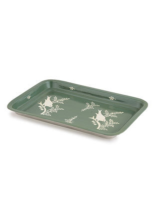 Green-White Floral Hand Painted Steel Tray- (L: 13in, W: 9in, H: 1in)