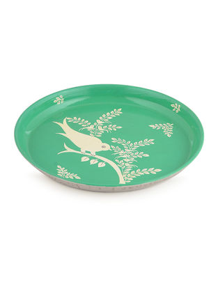 Green-White Floral Hand Painted Steel Plate- Dia: 7in