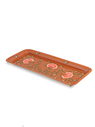 Rust Floral Hand Painted Steel Tray- (L: 15in, W: 6.5in, H: 0.6in)