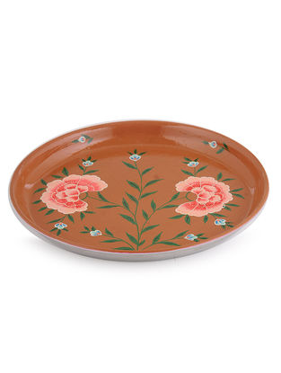 Rust Floral Hand Painted Steel Plate -Dia: 7in