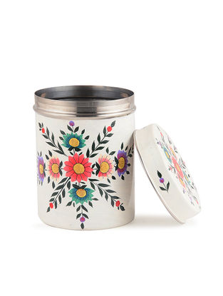 White-Multicolored Hand Painted Steel Tea Box with Floral Design (Set of 3) (L:4in, W:4in, H:5.6in)