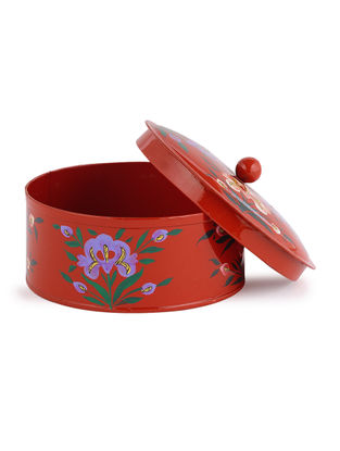Red-Multicolored Hand Painted Steel Box with Bird Design (L:4.2in, W:4.2in, H:2.5in)