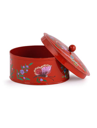 Red-Multicolored Hand Painted Steel Box with Butterfly Design (L:4.2in, W:4.2in, H:2.5in)