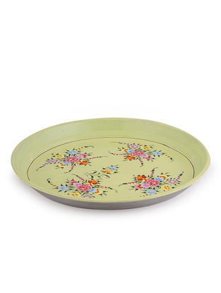 Multicolored Hand Painted Steel Plate with Bird Design (Dia - 13in, H:1in)