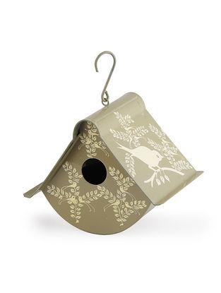Beige Hand Painted Steel Bird Nest with Bird Design (7in x 6.2in)