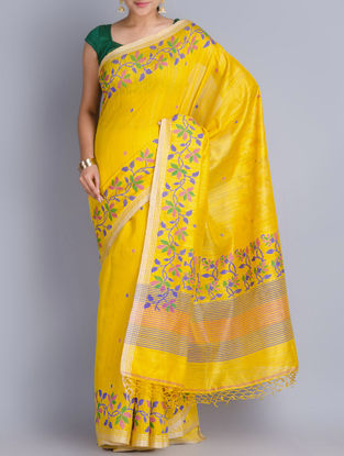 Yellow Matka Silk Handowoven Jamdani Saree