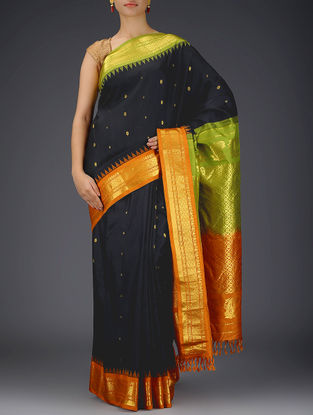 Black-Orange Gadwal Silk Saree with Zari